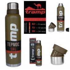 Термос 1.6 л Tramp Expedition Line Olive (TRC-029), Термос для напитков Трамп 1600 мл