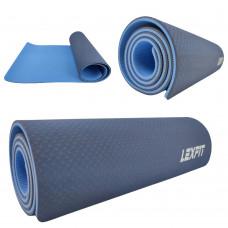 Коврик для йоги и фитнеса USA Style Lexfit LKEM-3039A-0,8 (синий, 182х61х0.8 см, термоэластопласт)