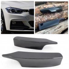 Боковые накладки (клыки, элероны) на бампер BMW 3 F30/F31 черный глянцевый стеклопластик ПОД ПОКРАСКУ