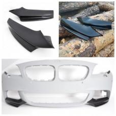 Боковые накладки (клыки, элероны) на бампер BMW 5 F10/F11 черный глянцевый стеклопластик ПОД ПОКРАСКУ
