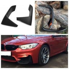 Боковые накладки (клыки, элероны) на бампер BMW M3 F80 и BMW М4 F82/F83 черный глянцевый стеклопластик ПОД ПОКРАСКУ