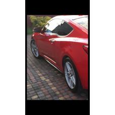 Лезвия под пороги Hyundai Genesis Coupe АБС пластик (22031401), Накладки под пороги Хендай Генезис Купе