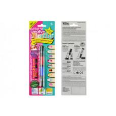Детский лак-карандаш для ногтей Creative Nails на водной основе (2 цвета малиновый + синий)